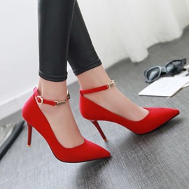 Solid Color Suede Pointed Toe Classic Pumps