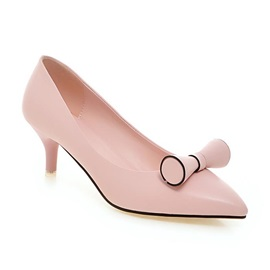 Bowknots Pointed Toe Low-Heel Pumps