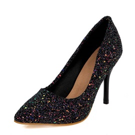 Sequins Stiletto Heel Slip-On Pumps