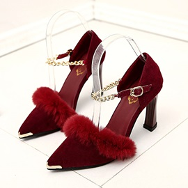 Suede Faux Fur Pointed Toe Pumps