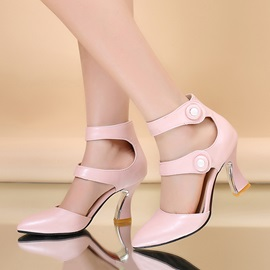 Solid Color Velcro Horse-Shoe Heel Pumps