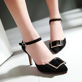 PU Buckles Ankle Strap Pumps