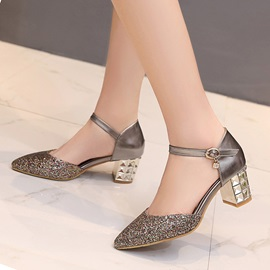 Sequins Chunky Heel Ankle Strap Pumps