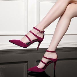 Suede Pointed Toe Buckles Pumps