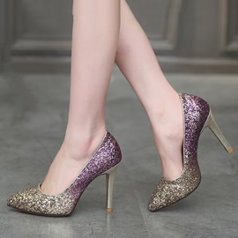Gradient Color Sequins Heels