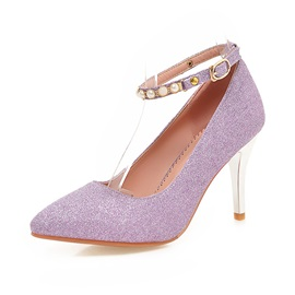 Beaded Sequins Ankle Strap Pumps