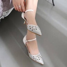 Rhinestone Hollow Low-Heel Pumps