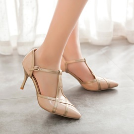 T-Shaped Round Toe Low Heels