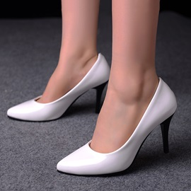 Solid Color PU Low Heel Pumps