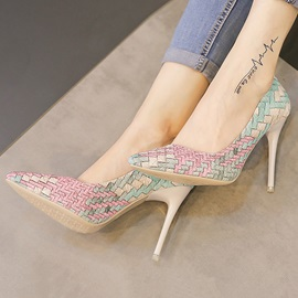 Color Block Crochet Stiletto Heel Pumps