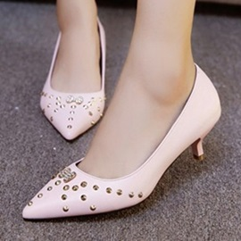 Studded PU Slip-On Low Heels