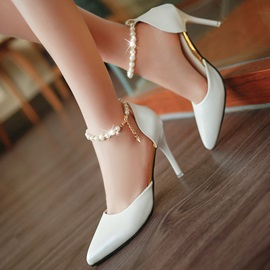 Beading Pointed Toe Classic Pumps
