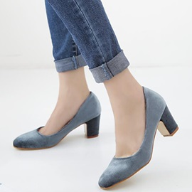 Nubuck Leather Slip-On Block Heel Women's Pumps