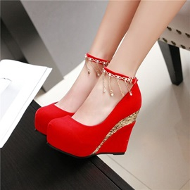 PU Red Line-Style Buckle Women's Wedge Shoes