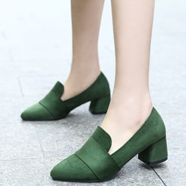PU Slip-On Chunky Heel Simple Women's Pumps
