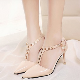 PU T-Shaped Buckle Rivet Stiletto Heel Women's Pumps