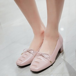 Simple PU Slip-On Block Heel Women's Pumps