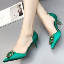 PU Slip-On Rhinestone Pointed Toe Heel Sandals
