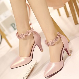 PU Line-Style Buckle Appliques Heel Covering Women