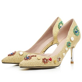 Sequins Banquet Slip-On Beads Women's Pumps