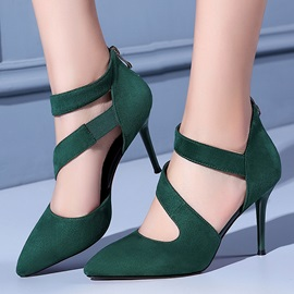 PU Zipper Thread Stiletto Heel Stylish Classic Pumps
