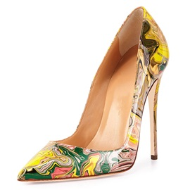 Printing Leather Slip-On Pointed Toe Women's Pumps