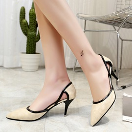 Embossed Leather Slip-On Hollow Women's Pumps