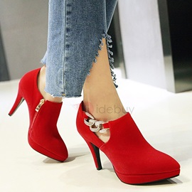 Suede Zipper Red and Black Rhinestone Women's Heels