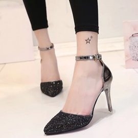 Sequins Line-Style Buckle Heel Covering Women's Pumps