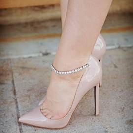 Solid Color Ankle Wrap Pointed Toe Stiletto Heels