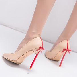 PU Slip-On Bowtie Stiletto Women