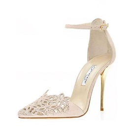 Hollow Rhinestone Line-Style Buckle Pumps
