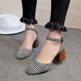 PU Square Toe Line-Style Buckle Block Heel Pumps