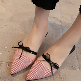 PU Closed Toe Bow Stiletto Slip-On Shoes