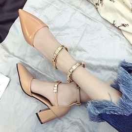 PU Sequin Rivet Buckle Pointed Toe Pumps