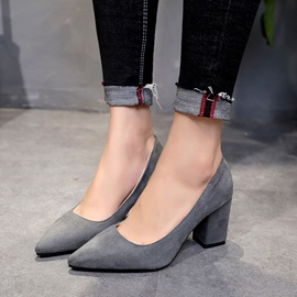 Faux Suede Pointed Toe Slip-On Women's Pumps