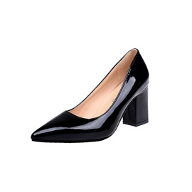 PU Pointed Toe Slip-On Block Heel Women's Pumps