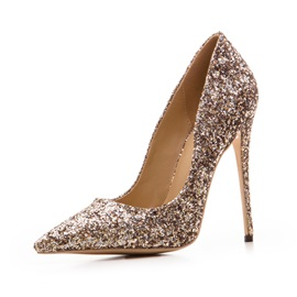 Glitter Pointed Toe Slip-On Stiletto Women's Pumps