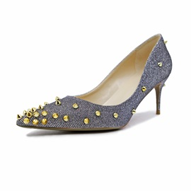 PU Pointed Toe Rivet Slip-On Women's Classic Pumps