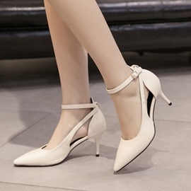 PU Hollow Pointed Toe Stiletto Classic Pumps