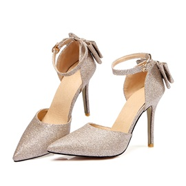 PU Bow Pointed Toe Stiletto Women's Pumps