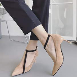 Faux Suede T-Shaped Buckle Pointed Toe Women's Pumps