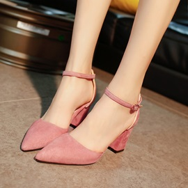 Faux Suede Chunky Heel Pointed Toe Pumps