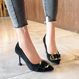 PU Buckle Spoon Heel Rhinestone Classic Pumps