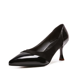 Suede Fabric Patchwork Pointed Toe Classic Pumps