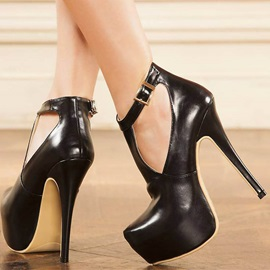 PU T-Shaped Buckle Platform Women's Black Pumps