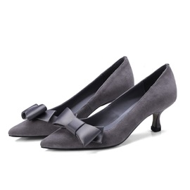Suede Bow Slip-On Pointed Toe Women's Pumps