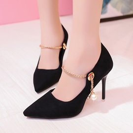 Suede Fabric Beads Chain Women's Classic Pumps