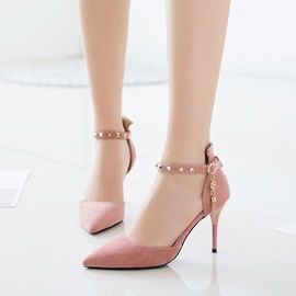 PU Pointed Toe Rivets Line-Style Buckle Classic Pumps