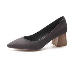 Plain Pointe Toe Chunky Heel Slip-On Women's Pumps